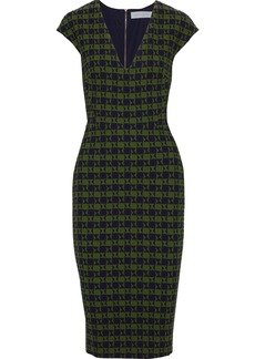 Victoria Beckham Woman Checked Cloqué-jacquard Dress Leaf Green