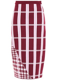 Victoria Beckham Woman Checked Jacquard-knit Wool-blend Pencil Skirt Plum