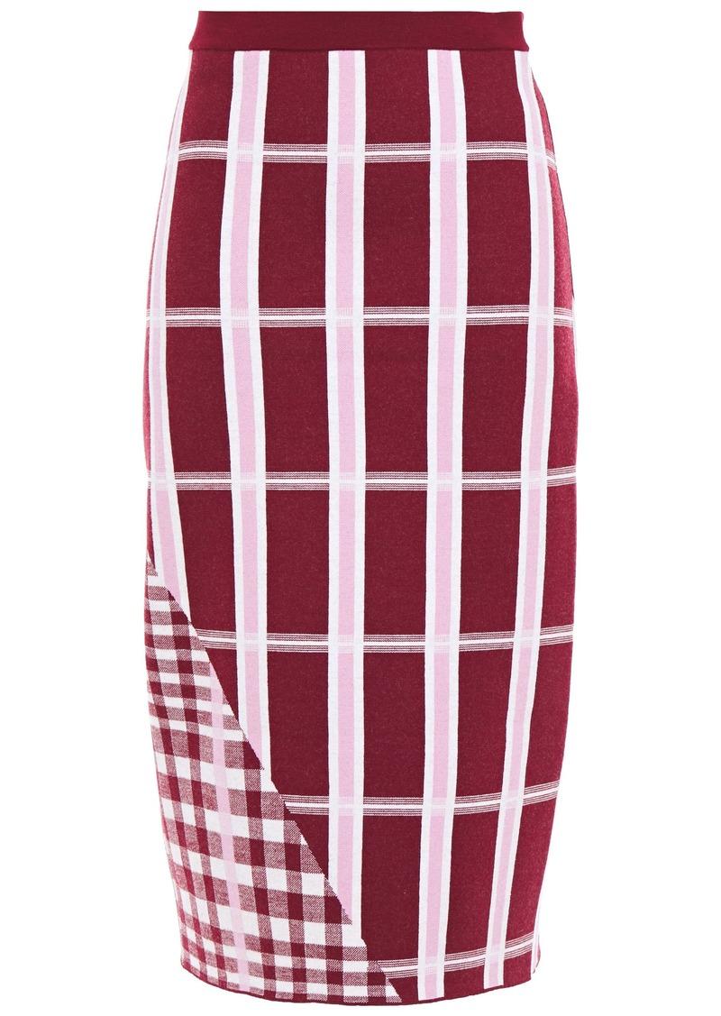 Victoria Beckham Woman Checked Jacquard-knit Wool-blend Pencil Skirt Plum
