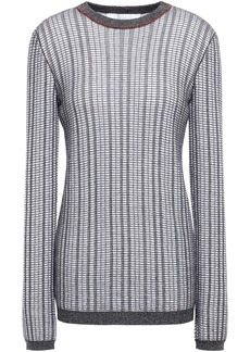 Victoria Beckham Woman Checked Wool And Cotton-blend Sweater Navy
