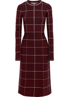 Victoria Beckham Woman Checked Wool-blend Midi Dress Burgundy