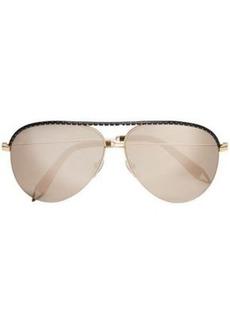Victoria Beckham Woman Classic Victoria Aviator-style Metal Mirrored Sunglasses Black