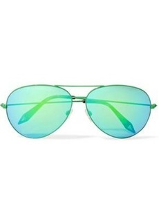 444675113c92 Victoria Beckham Woman Classic Victoria Aviator-style Metal Sunglasses  Bright Green