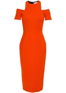 Victoria Beckham Woman Cold-shoulder Stretch-ponte Midi Dress Bright Orange