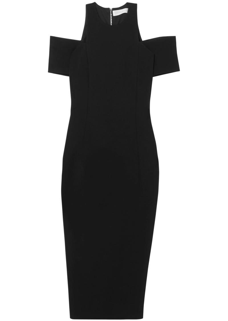 Victoria Beckham Woman Cold-shoulder Stretch-ponte Midi Dress Black