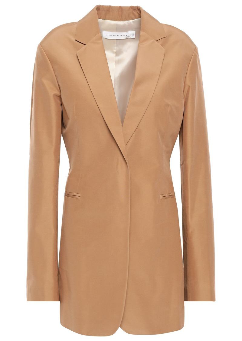 Victoria Beckham Woman Cotton And Silk-blend Blazer Camel