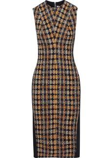 Victoria Beckham Woman Cotton-blend Bouclé-tweed And Crepe Midi Dress Navy