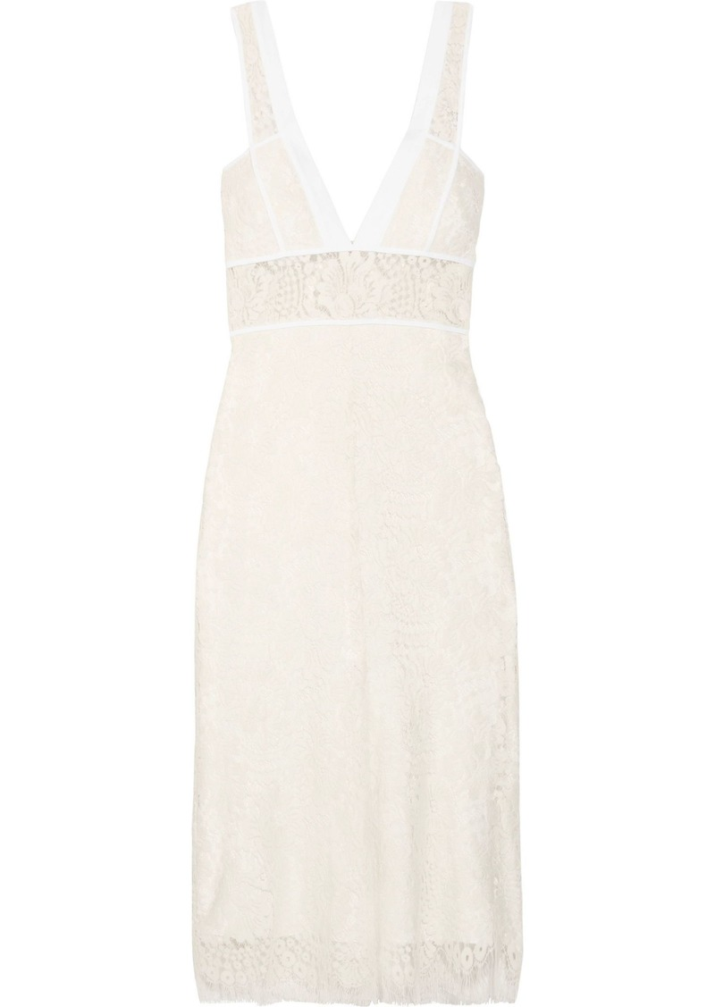 Victoria Beckham Woman Cotton-trimmed Wool-blend Lace Midi Dress White