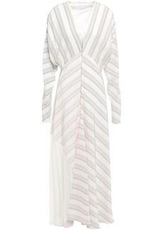 Victoria Beckham Woman Crepe-paneled Striped Silk-cady Maxi Dress Ivory