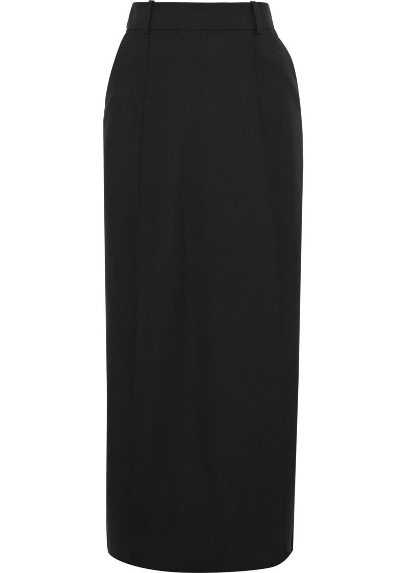 Victoria Beckham Woman Crepe-paneled Wool And Mohair-blend Maxi Skirt Black