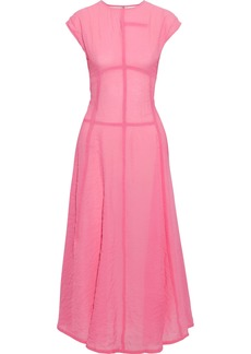 Victoria Beckham Woman Crinkled Crepe De Chine Midi Dress Pink