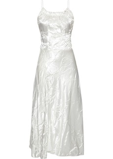 Victoria Beckham Woman Crinkled-satin Midi Dress White
