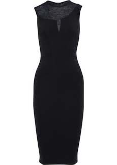 Victoria Beckham Woman Crochet Knit-paneled Cady Dress Black