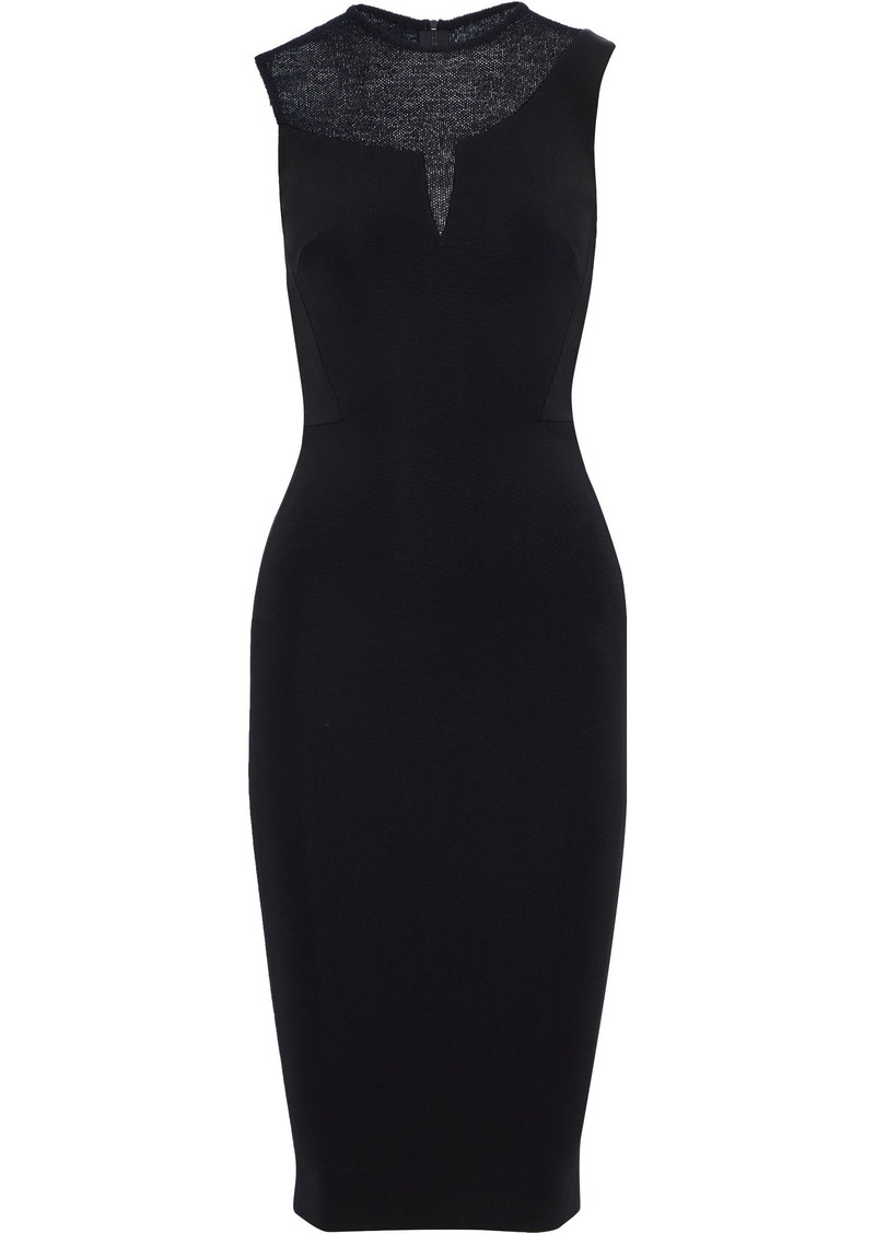 Victoria Beckham Woman Crochet Knit-paneled Cady Dress Black