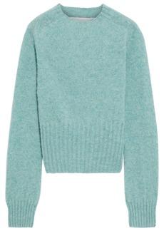 Victoria Beckham Woman Cropped Mélange Brushed-wool Sweater Jade