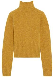 Victoria Beckham Woman Cropped Mélange Brushed-wool Turtleneck Sweater Saffron