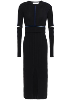 Victoria Beckham Woman Cutout Split-front Embroidered Ribbed-knit Midi Dress Black
