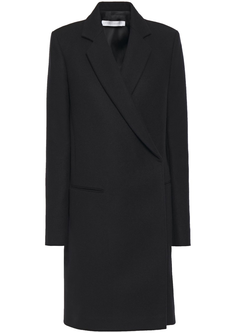 Victoria Beckham Woman Double-breasted Brushed Wool-felt Coat Black