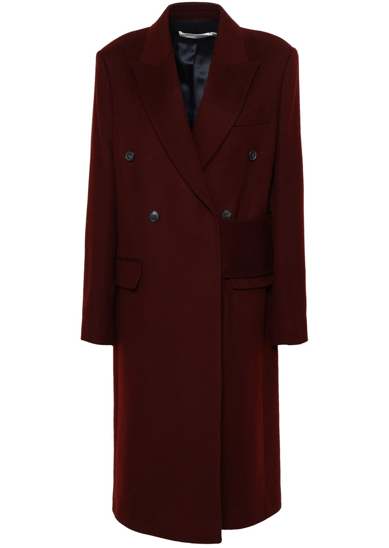 Victoria Beckham Woman Double-breasted Brushed Wool-felt Coat Merlot