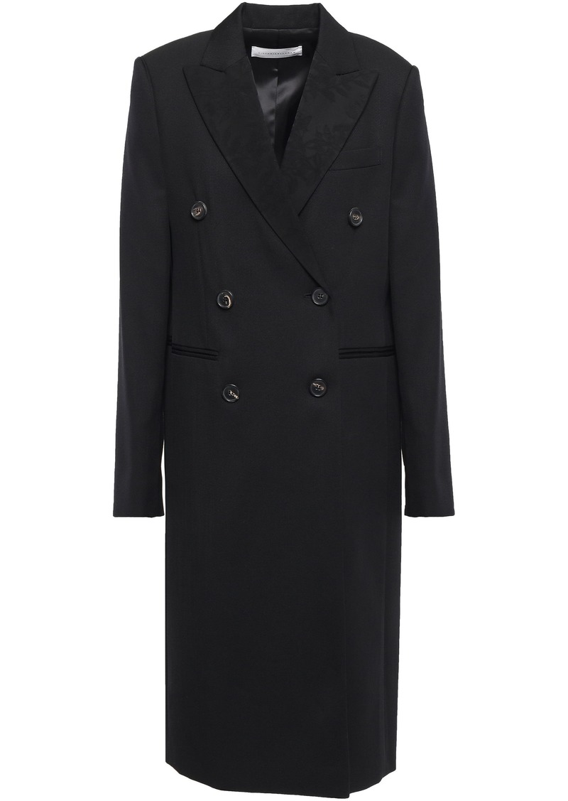 Victoria Beckham Woman Double-breasted Paneled Wool-twill And Jacquard Coat Black