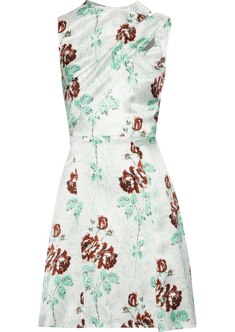 Victoria Beckham Woman Draped Floral-print Crinkled Satin-crepe Mini Dress Off-white