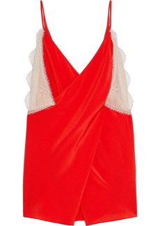 Victoria Beckham Woman Draped Lace-trimmed Silk Crepe De Chine Camisole Red