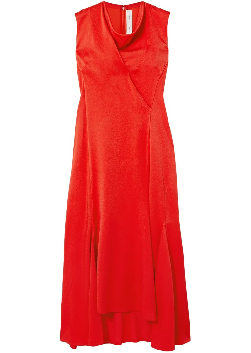 Victoria Beckham Woman Draped Satin-crepe Midi Dress Tomato Red