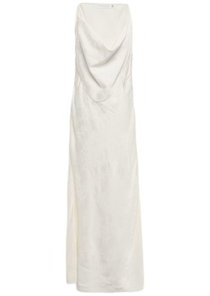 Victoria Beckham Woman Draped Satin-jacquard Maxi Dress Ivory