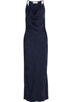 Victoria Beckham Woman Draped Satin-jacquard Maxi Dress Navy