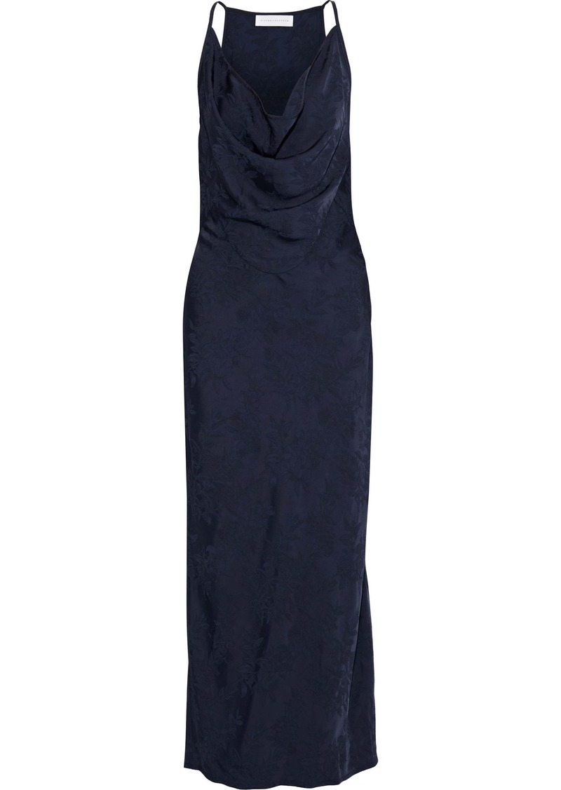 Victoria Beckham Woman Draped Satin-jacquard Maxi Dress Navy