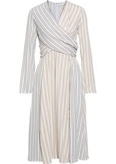 Victoria Beckham Woman Draped Striped Crepe De Chine Midi Dress Multicolor