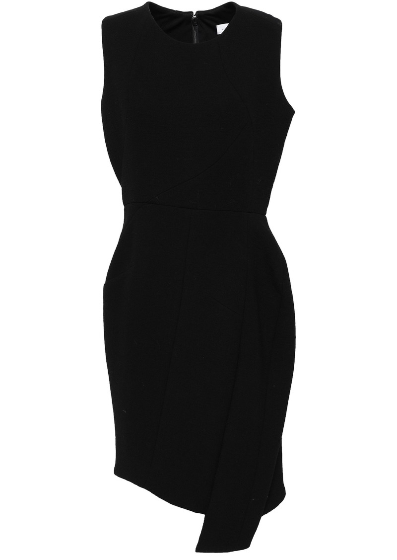 Victoria Beckham Woman Draped Wool-blend Crepe Mini Dress Black