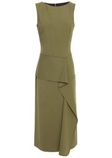Victoria Beckham Woman Draped Wool-twill Midi Dress Army Green