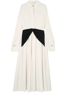 Victoria Beckham Woman Embellished Silk-paneled Crepe De Chine Dress Cream