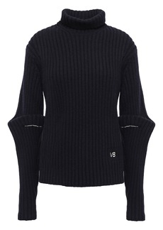 Victoria Beckham Woman Embroidered Ribbed Wool Turtleneck Sweater Midnight Blue