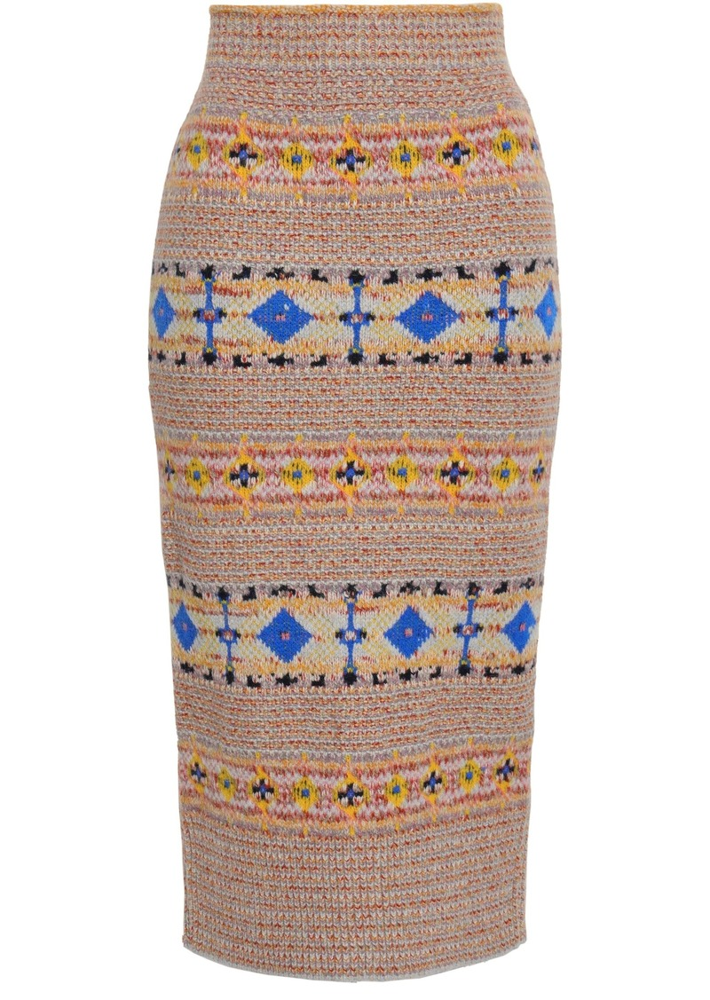 Victoria Beckham Woman Fair Isle Knitted Pencil Skirt Multicolor