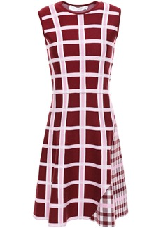 Victoria Beckham Woman Flared Checked Jacquard-knit Mini Dress Merlot