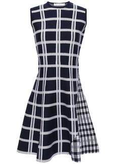 Victoria Beckham Woman Flared Checked Wool-blend Jacquard Mini Dress Navy
