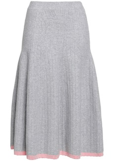 Victoria Beckham Woman Flared Ribbed Wool-blend Midi Skirt Light Gray