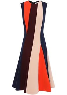 Victoria Beckham Woman Flared Striped Ponte Midi Dress Multicolor