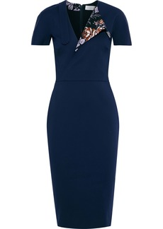 Victoria Beckham Woman Floral Print-paneled Cotton-blend Cady Dress Navy