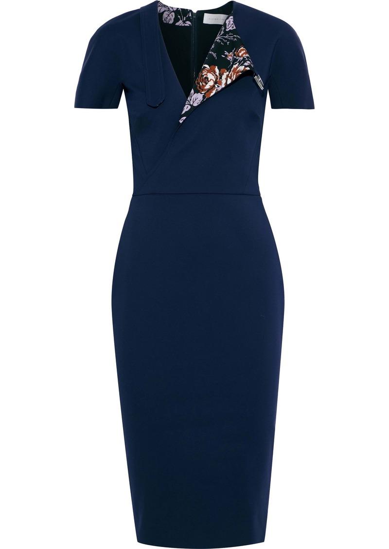 Victoria Beckham Woman Floral Print-paneled Cotton-blend Cady Dress Navy