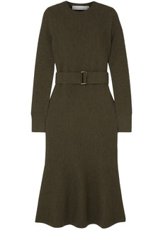 Victoria Beckham Woman Fluted Belted Wool-cloqué Midi Dress Army Green