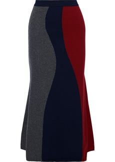 Victoria Beckham Woman Fluted Color-block Wool-blend Midi Skirt Navy
