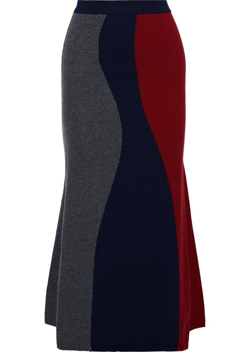 Victoria Beckham Woman Fluted Color-block Wool-blend Midi Skirt Navy