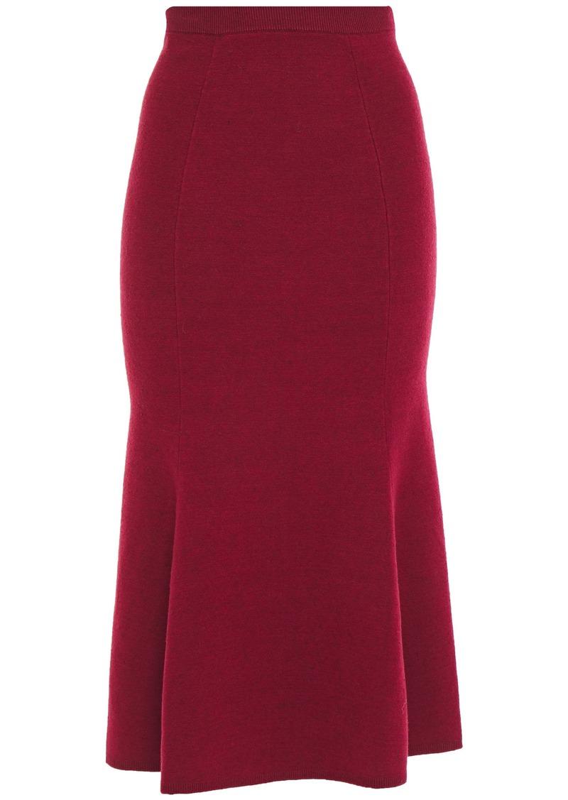 Victoria Beckham Woman Fluted Knitted Midi Skirt Crimson