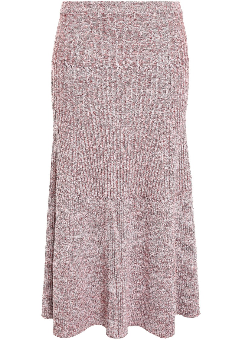 Victoria Beckham Woman Fluted Mélange Ribbed-knit Midi Skirt Red