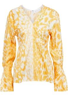 Victoria Beckham Woman Fluted Printed Silk-twill Top Marigold