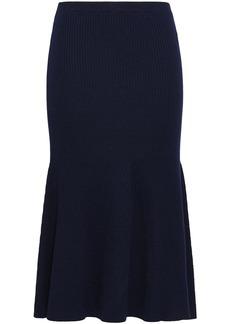 Victoria Beckham Woman Fluted Ribbed Wool-blend Midi Skirt Midnight Blue
