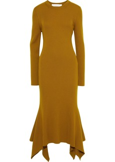 Victoria Beckham Woman Fluted Ribbed Wool Midi Dress Camel